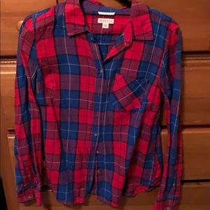 Blue & red flannel top